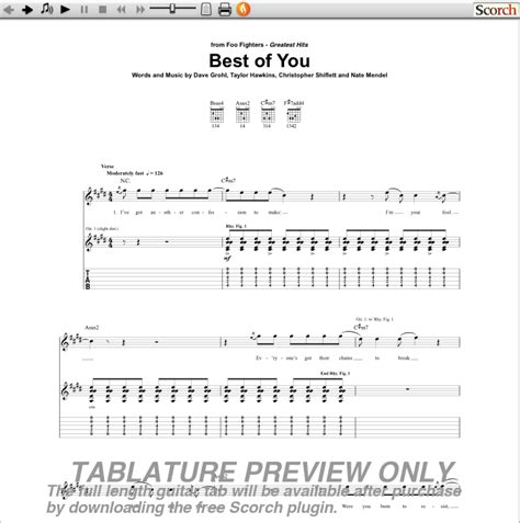 foo fighters best of you tab pictures of you guitar tabs image search results