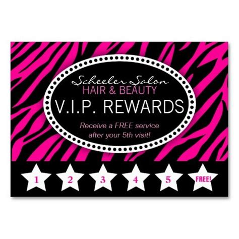 make your own rewards card pink zebra print salon loyalty rewards card business cards