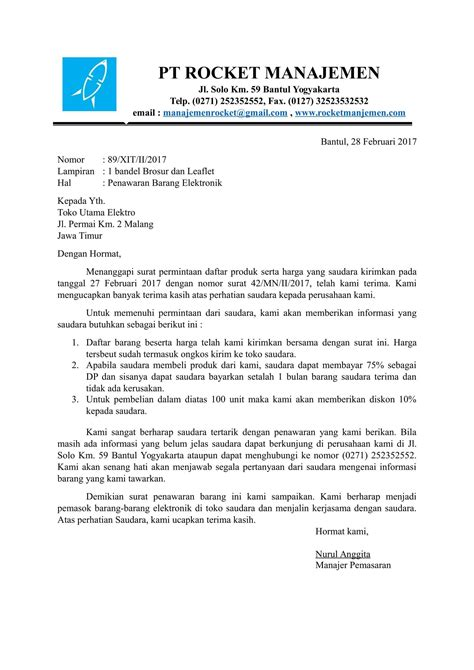 Contoh Surat Permintaan Dari Perusahan by Contoh Surat Penawaran Barang Elektronik Dari