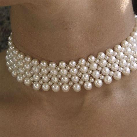 Woven Choker classic woven pearl choker pearls