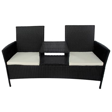 black wicker bench vidaxl black poly rattan two seater bench with tea table