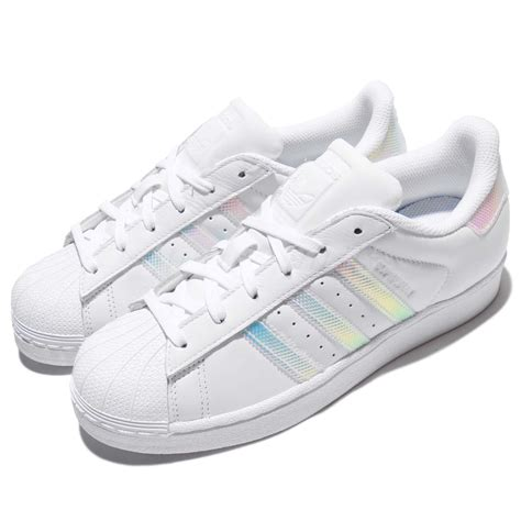 Adidas Superstar Putih Silver Import Asli adidas originals superstar w iridescent hologram white leather shoe cp9629 ebay