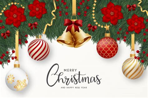 modern merry christmas  happy  year greeting card  realistic decoration vector
