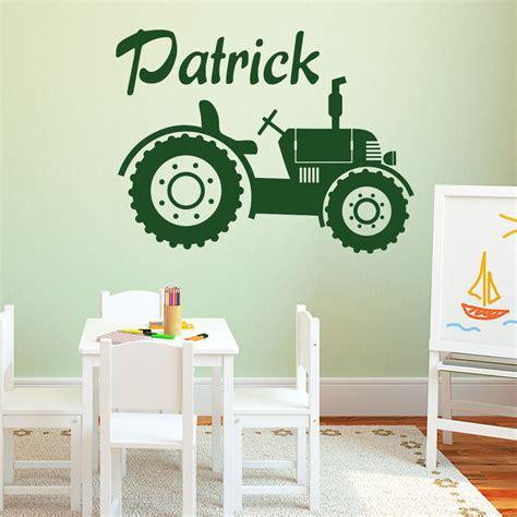 wandtattoo kinderzimmer fahrzeuge traktor mit wunschname wandtattoo