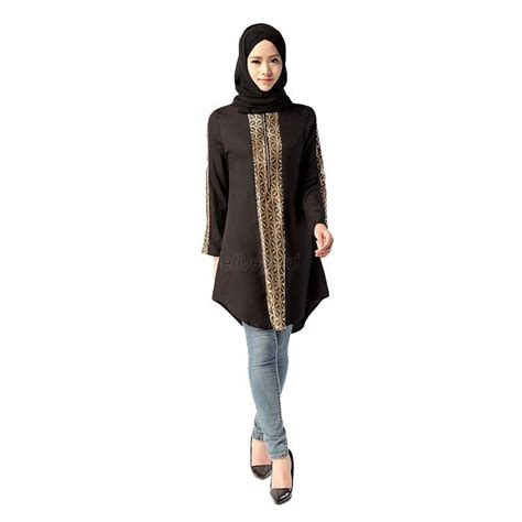 Blouse Denim Grey Atasan Muslim Blouse Muslim fashion kaftan muslim womens dress sleeve abaya islamic shirt tops blouse ebay