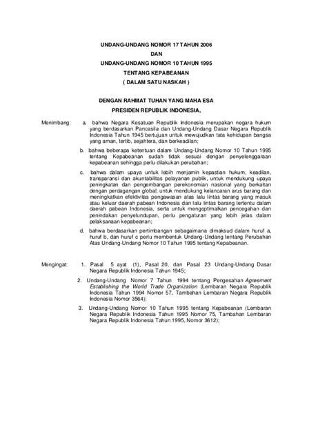 Contoh Surat Undang by Undang Undang Bea Cukai