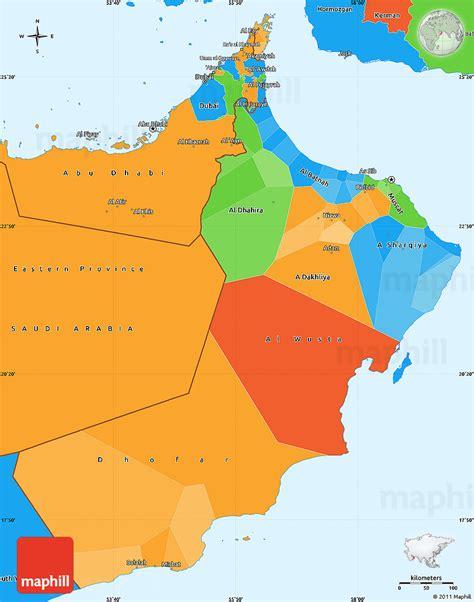 oman political map oman karte provinzen