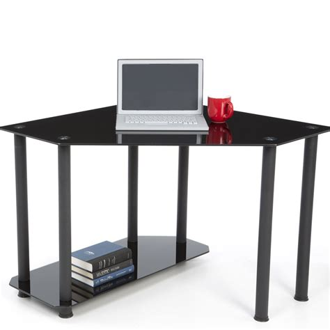 Corner Desk Black Corner Black Glass Workstation Officedesk