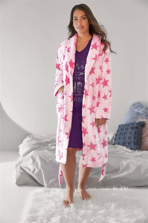 Nan Segi Ns 02 Owl pink soft luxurious fleece dressing gown plus