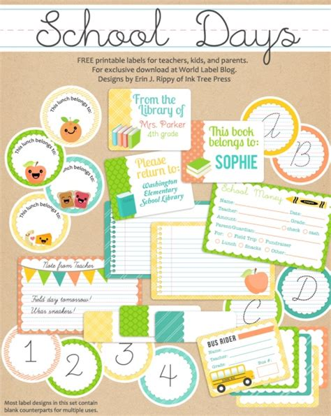 School Days Printables Labels Part 1 Worldlabel Blog School Book Labels Template
