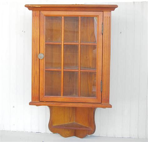 Wall Mounted Curio Cabinet Plans Wooden Wall Hanging Corner Cabinet Curio Display By Thejunkman