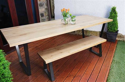 oak benches for dining tables bespoke tables urban metal works