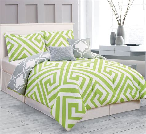 green bed total fab lime green and grey bedding sets