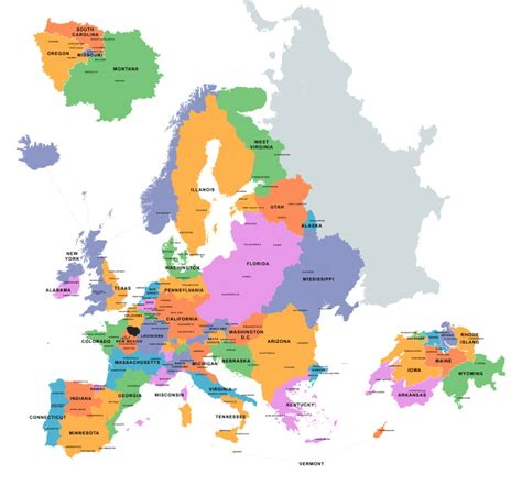 map usa europe areas of europe compared to us states with equal