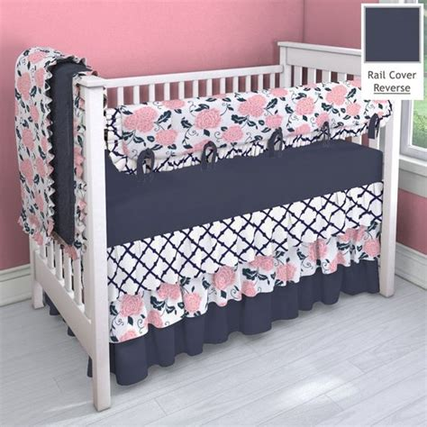 Navy And Coral Pink 3 Tier Nursery Idea Customizable Navy And Pink Crib Bedding