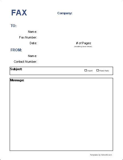 Template For A 5 X 7 1 Page Note Card by Blank Fax Cover Page Free Fax Cover Sheet Template