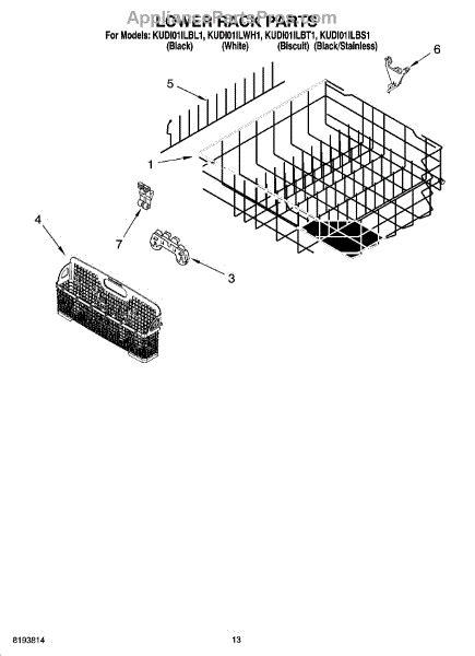parts for kitchenaid kudi01ilbl1 lower rack parts