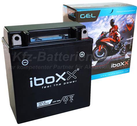 Motorradbatterie Pluspol by Gel Motorradbatterie 12v 5ah Yb5l B 50512