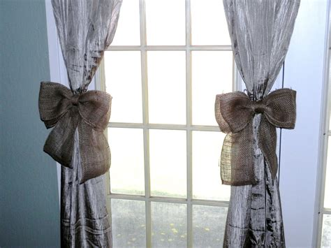 curtain bows burlap bow curtain tie back set of twowreath decor