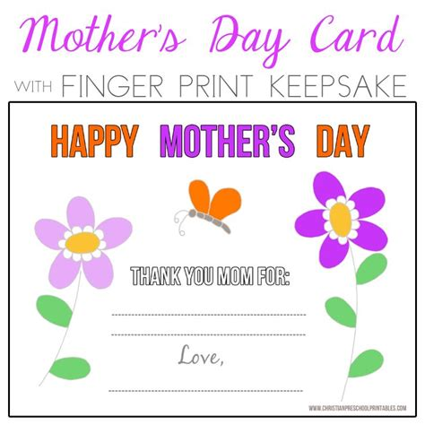 Mothers Day Christian Card Template by Preschool S Day Fingerprint Card Flowers