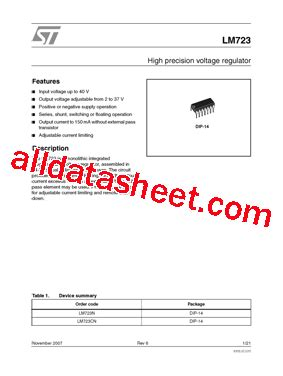 Lm723 National Semiconductor lm723 datasheet pdf stmicroelectronics