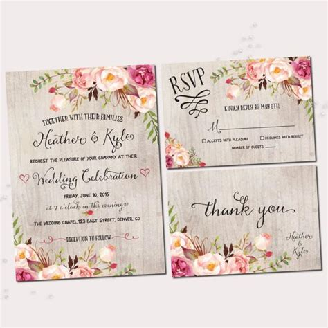 local printers for wedding invitations rustic wedding invitations printable wedding invitation set rustic floral invitation bohemian