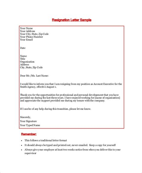 exle of resignation letter 8 sles in word pdf