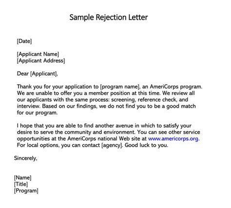 job candidate rejection letter sample letters