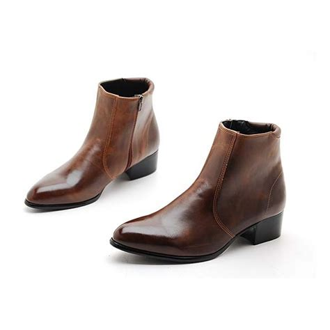 mens zip ankle boots s brown synthetic leather side zip dress ankle boots