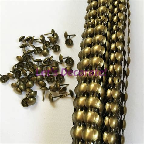 Upholstery Studs Strips by Free Shipping 10meters Lot 11mm Brass Color Plated