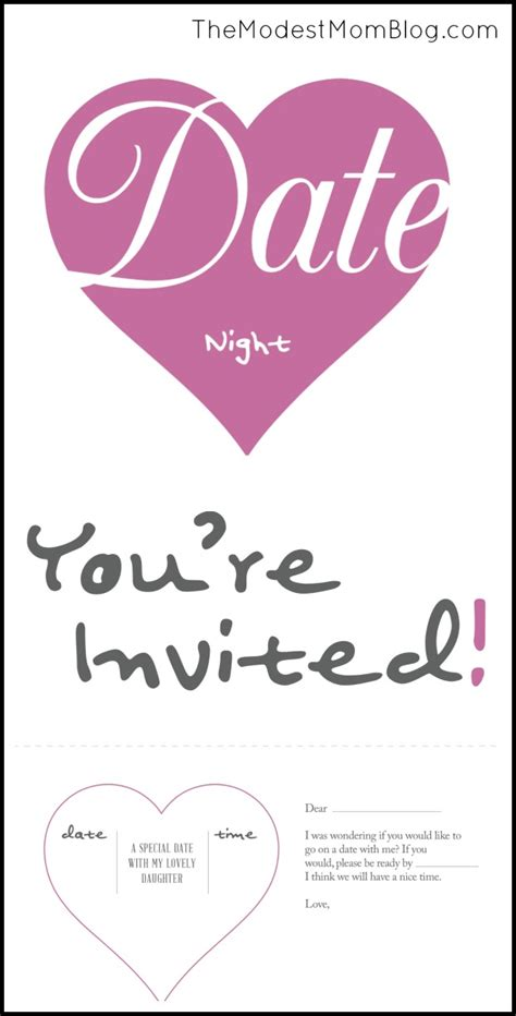 Father Daughter Date Night Activities And Free Printable Date Invitation Template