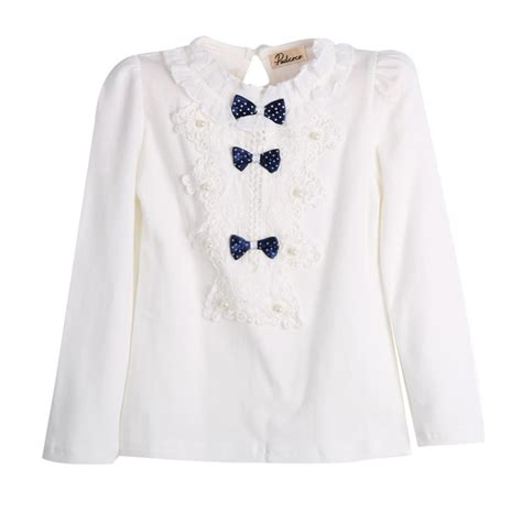 Blouse 7 8 Sleeves lovely baby clothes tops bow tie cotton floral lace tops blouse white sleeve