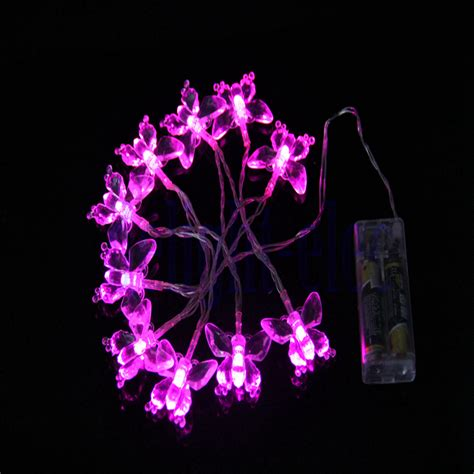 Battery Powered Pink Butterfly Light String 1 M Long 11 Pink Butterfly Lights