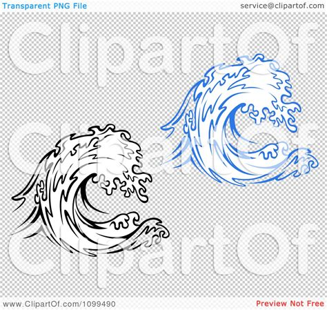 clipart black and white and blue waves royalty free