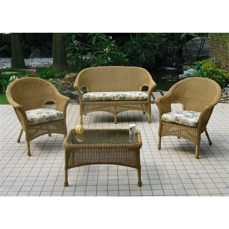 Chicago Wicker 174 4 Pc Darby Wicker Patio Furniture Wicker Look Patio Furniture