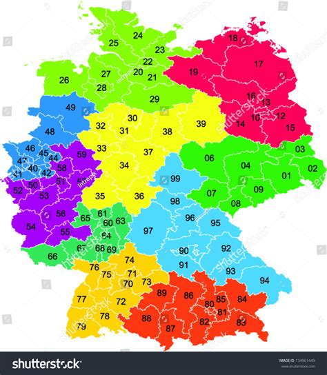 zip code map germany colored vector map two digit postal stock vector 134961449