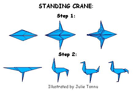 Origami Standing Crane - http www jayzeebear welcome to the green forest