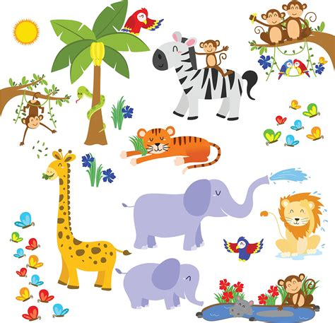 Nursery Wall Stickers Jungle Animals by Jungle Safari Wall Decals Fun Animals For Kids Rooms And