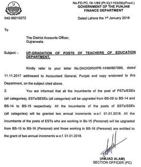Finance Department Letter Up Gradation Of Posts Of Teachers Of Punjab Education Department Finance Department Letter To