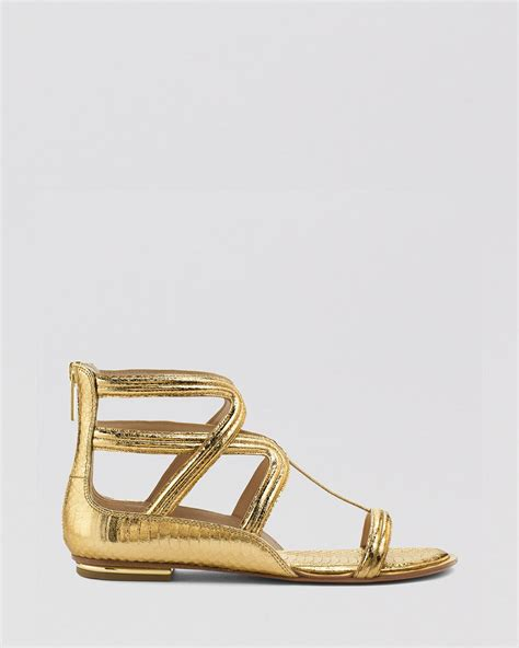 michael kors gold flat shoes lyst michael kors flat gladiator sandals in metallic