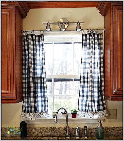 black and white plaid kitchen curtains curtain home