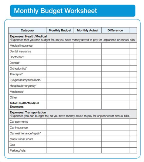 budgeting sheets template sle budget sheet 5 documents in pdf word