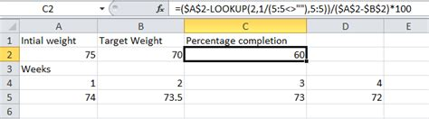 Spreadsheet In Excel I Am Trying To Track Percentage Completion Of A Goal Stack Overflow Percentage Of Completion Excel Template