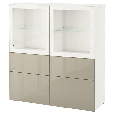 Besta 50 Cm by Best 197 Storage Combination W Glass Doors White Selsviken