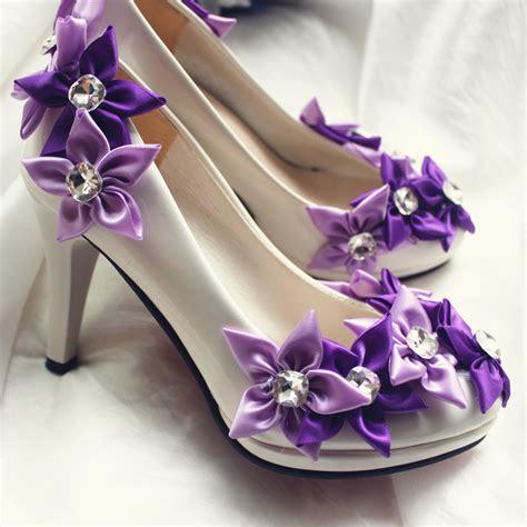 2017 new design wedding bridal shoes fashion purple flower