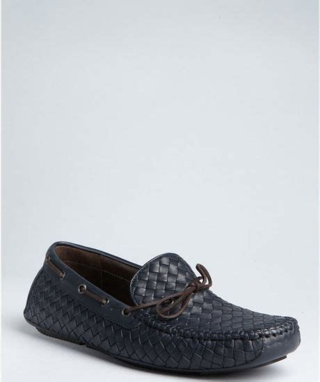 driving boat into slip bottega veneta navy intrecciato leather boat stitched slip