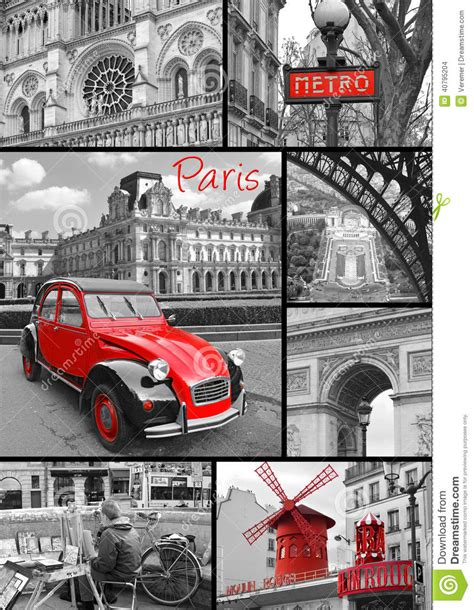 Eiffel Tower Wall Murals paris collage of the most famous monuments and landmarks