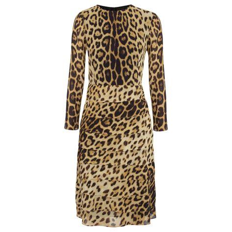 Leopard Chiffon Dress moschino cheap chic leopard print silk chiffon dress in animal black lyst