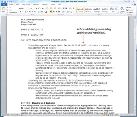 landscaping scope of work template uda constructiondocs green building construction