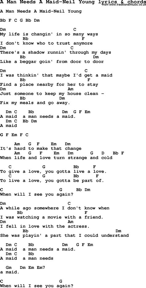 lyrics guitar chords song lyrics for a needs a neil with
